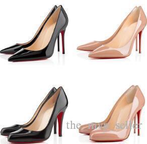 Vestido de la oficina Caree ACE moda las mujeres del diseñador de lujo zapatos de tacón alto inferiores del rojo de 8 cm 10 cm 12 cm negro desnudo W blanco de cuero de las mujeres dedos del pie Bombas