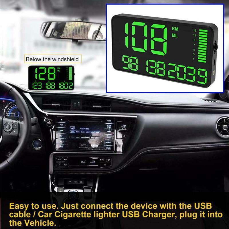C90 속도계 Hud 디스플레이 자동차 Hud 속도 경보 시스템 과속 경보 운전 시간 디지털 자동차 시계 주행 GPS