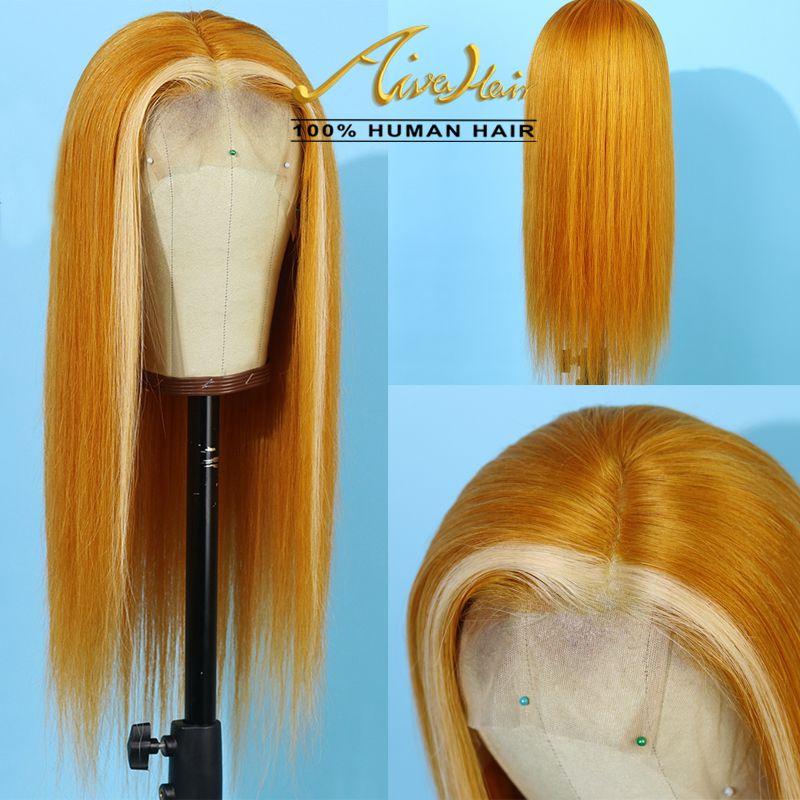 150% Densité de dentelle de cheveux humains Mix Jaune Blonde perruques avec bébé cheveux Silky droite Transparent COLORÉ Remy Glueless Perruques