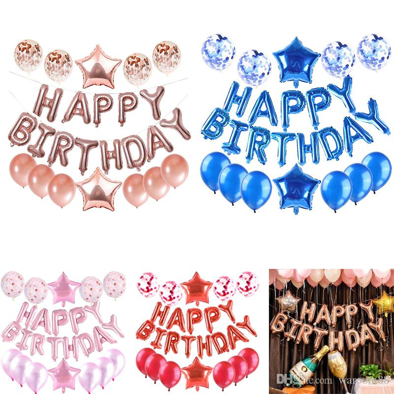 25 Pcs Balloons In Total Happy Birthday Letters Heart Star Confetti and Aluminum Foil Latex Party Balloons Set Birthday Party Decor Supplies