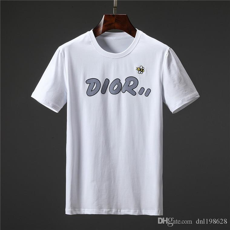 Erkek Tasarımcı T Shirt Moda Erkek Giyim 2020 Yaz Casual Streetwear Tişörtlü Perçin Pamuk Mürettebat Boyun Kısa Kollu Blend