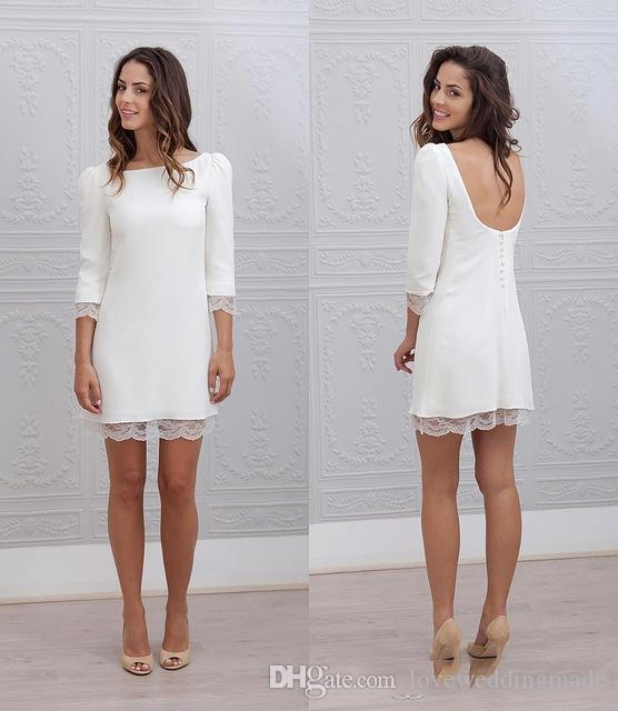 Sexy Backless Informal Beach Short Mini Wedding Dresses 3/4 Sleeves Casual Reception Sheath Fitted Bridal Gowns cheap