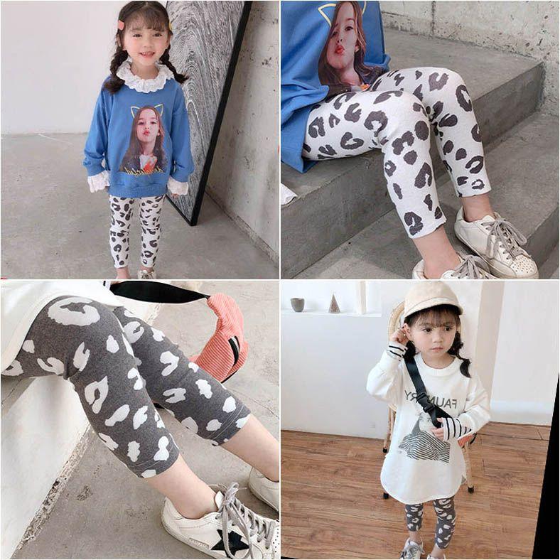 Nova primavera 2020 de leopardo meninas leggings crianças macias leggings calças skinny meninas meias crianças roupas de grife menina calças B319