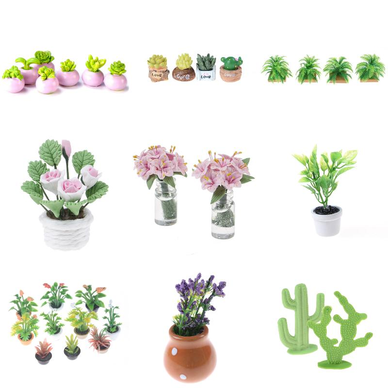 2PCS Miniature green plant In pot for dollhouse decoration home decor TO