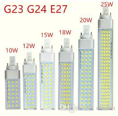 g23 g24 e27는 램프 전구를지도했다 10W 12W 15W 18W 20W 5730 빛 따뜻한 백색 차가운 백색 스포트라이트 180도 수평 한 플러그 라이트