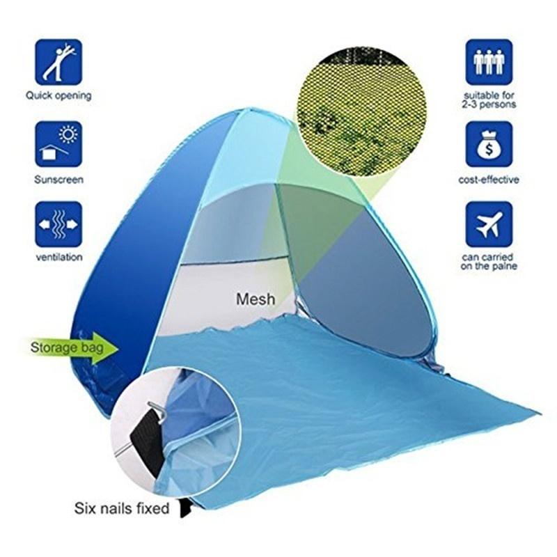 RU itibaren Plaj Çadır Ultralight Katlama Çadır -Up Otomatik Açık Aile Güneş Gölge Play House Çocuk Kale Gemi