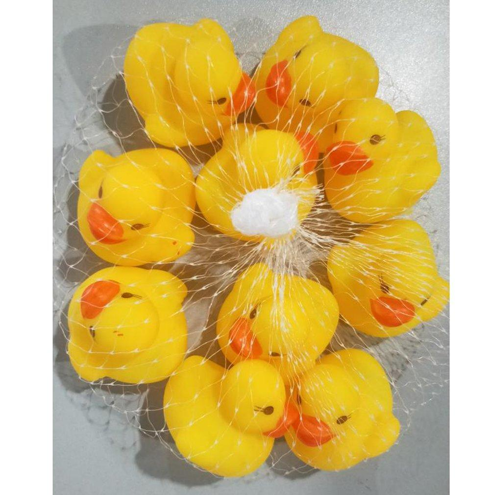 10pcs Baby Bathing Tub Toys Mini Floating Rubber Ducks Yellow Squeaky Duck Interactive Game Toys For Boys Kids Brand New