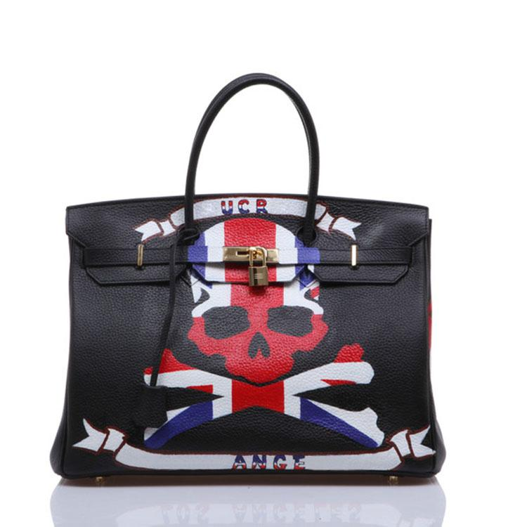 Striped Skull Head American Flag Custom Graffiti original design Genuine Leather women bags Handbags Hand Drawing Real Cowskin Top quality