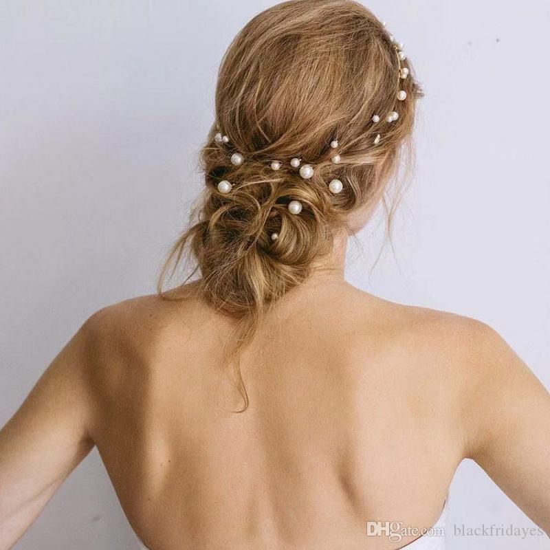 Accessori nuovi prodotti europei e americani perla placcata in oro, forcina, set di gioielli da sposa alla moda, abito per capelli con fata perla