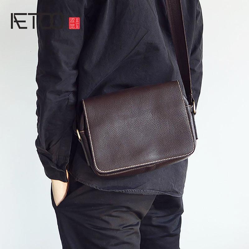borsa a tracolla pelle bovina capa di pelle retrò croce obliqua piccola borsa casuale delle donne di cuoio fatti a mano da uomo AETOO
