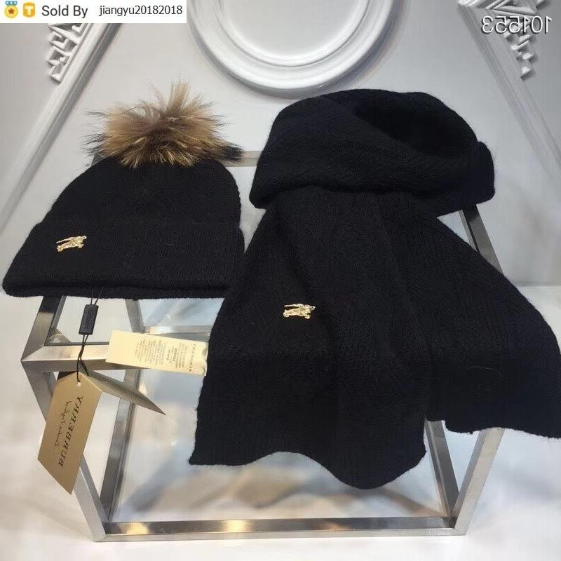 Christmas Gift Quality Woolen Scarf Men Cashmere wool Fox hair ball hat 2pc 534812 4G295 4174 016 With Box