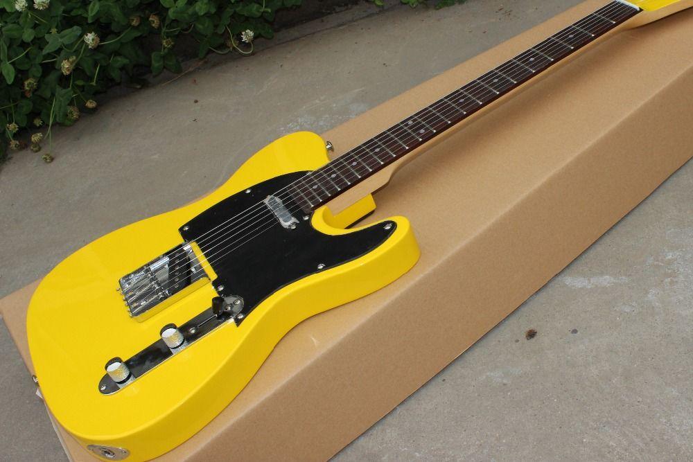 Custom Shop, TELE 6 stringhe tastiera in palissandro chitarra elettrica, chitarra colore giallo lavoro da mani guitarra