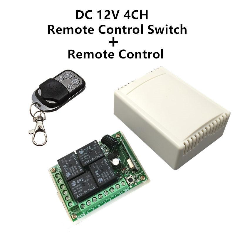 Cheap Controls 433Mhz Universal Wireless Remote Control Switch DC 12V 4CH relay Receiver Module and RF Transmitter 433 Mhz Remote Controls