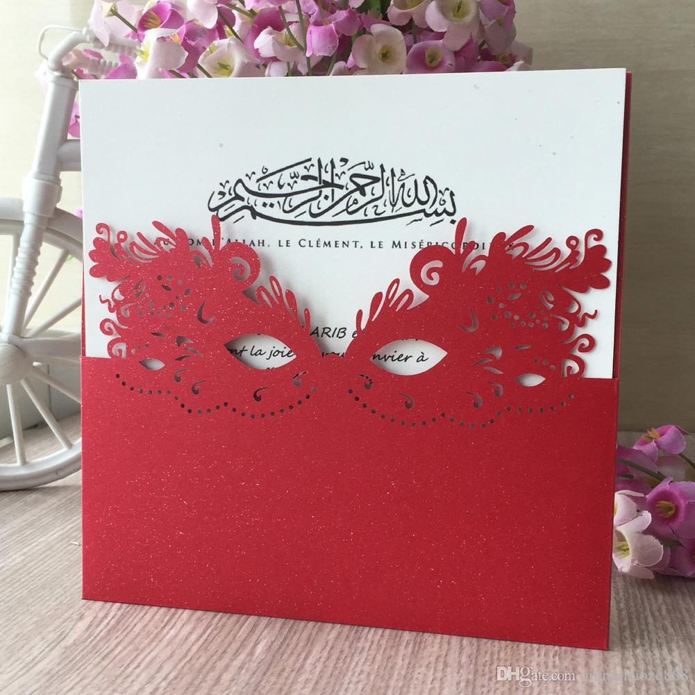 Wholesale Invitations Card With Wedding Mask Pattern Fancy Dress Party Grand Family Dinner Party Invitation April Fool S Day Bride And Groom Wedding