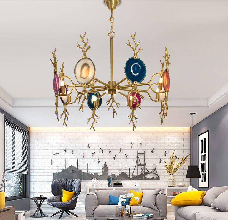 Águila natural Colorida araña de oro latón cobre candelabros claro rojo verde rosa azul verde púrpura colgante lámparas luces foyer cocina