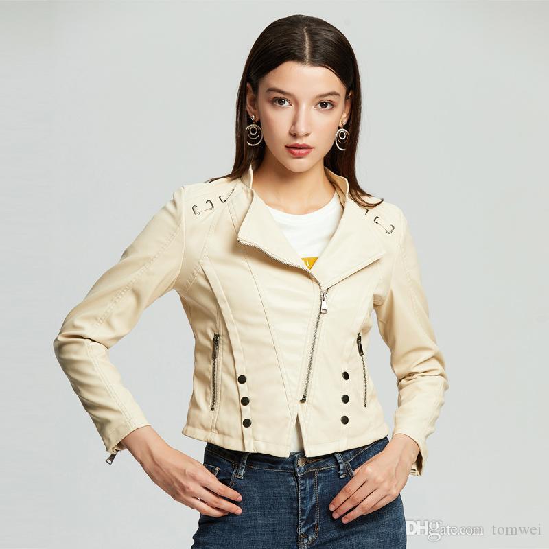 Mulher biker jaquetas de couro 2019 casacos primavera outerwear casaco casual tops streetwear senhoras hip hop roupas amarelo branco s-xxl