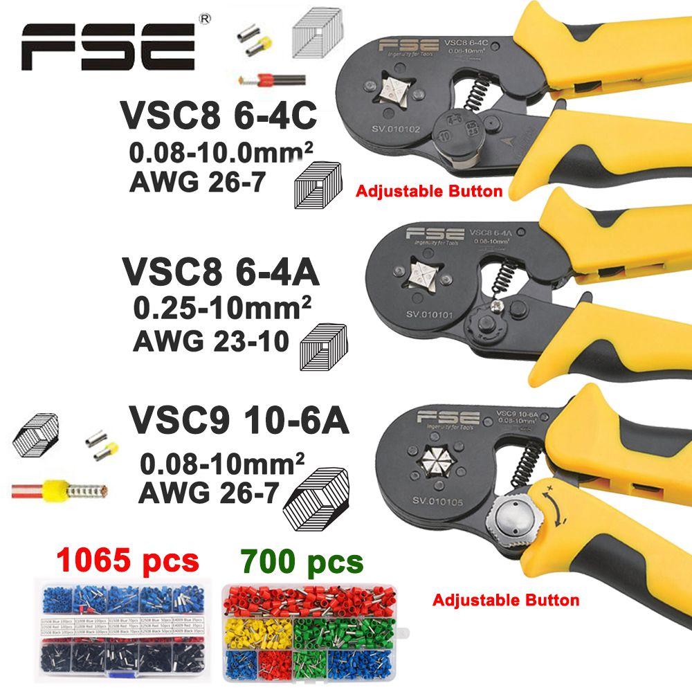 Гофрируя плоскогубцы VSC8 10-6A 6-4C VSC9 16-4A 0.08-16mm2 26-5AWG для типа пробки тип стержня иглы ручные регулируемые инструменты