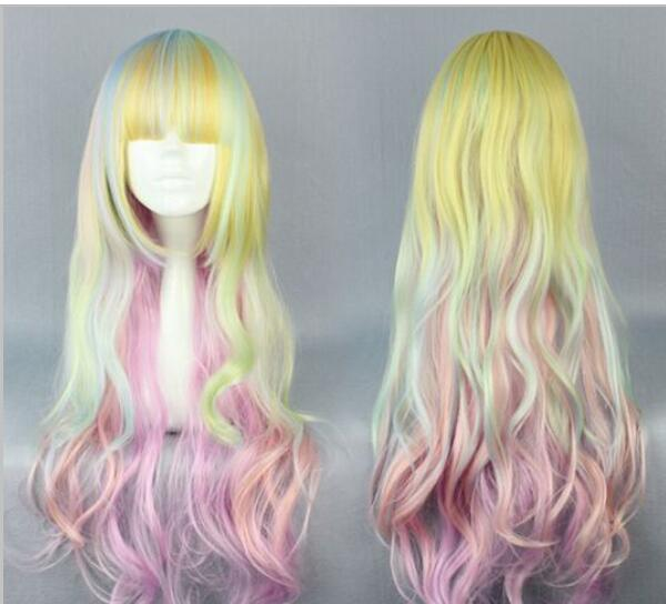 무료 배송 + + + 스타일 긴 합성 머리카락 코스프레 가발