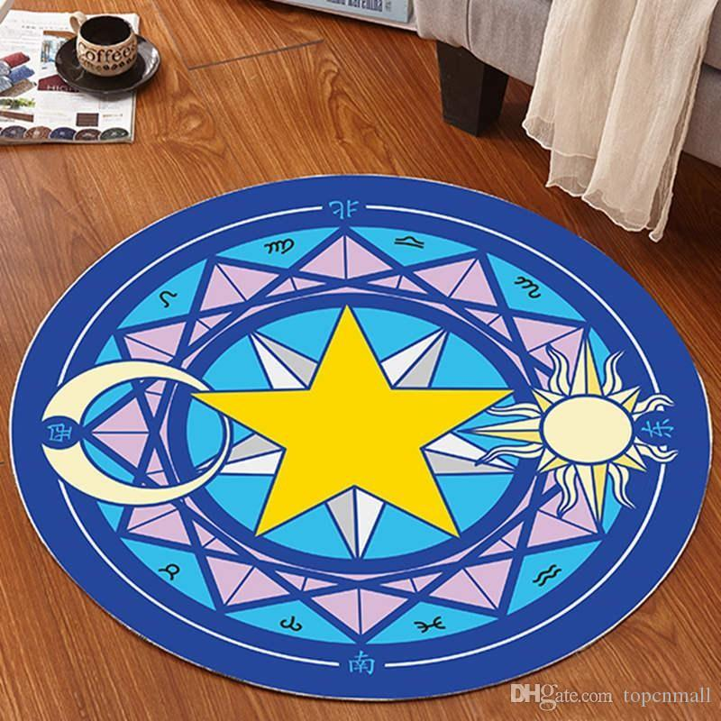Cartoon Moka Girl Sakura Magic Array Carpets Non Slip Round Variety Sakura Lovely Cloakroom Mat hot sale