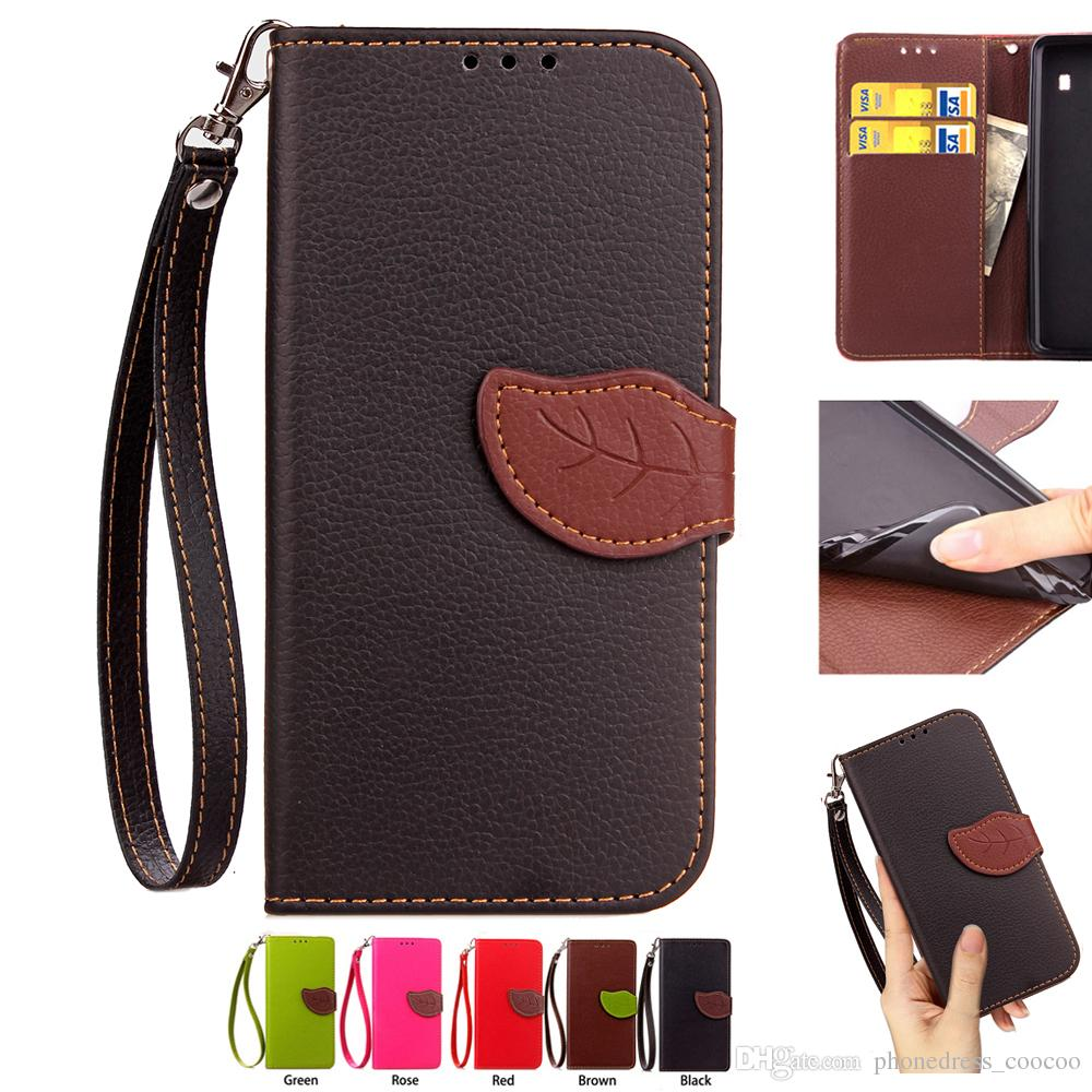 Leaf Shape Flip Cell Phone Soft PU Leather Wallet Case Cover with Bank Card Holder Strong Hand Strap 503 Models for Option