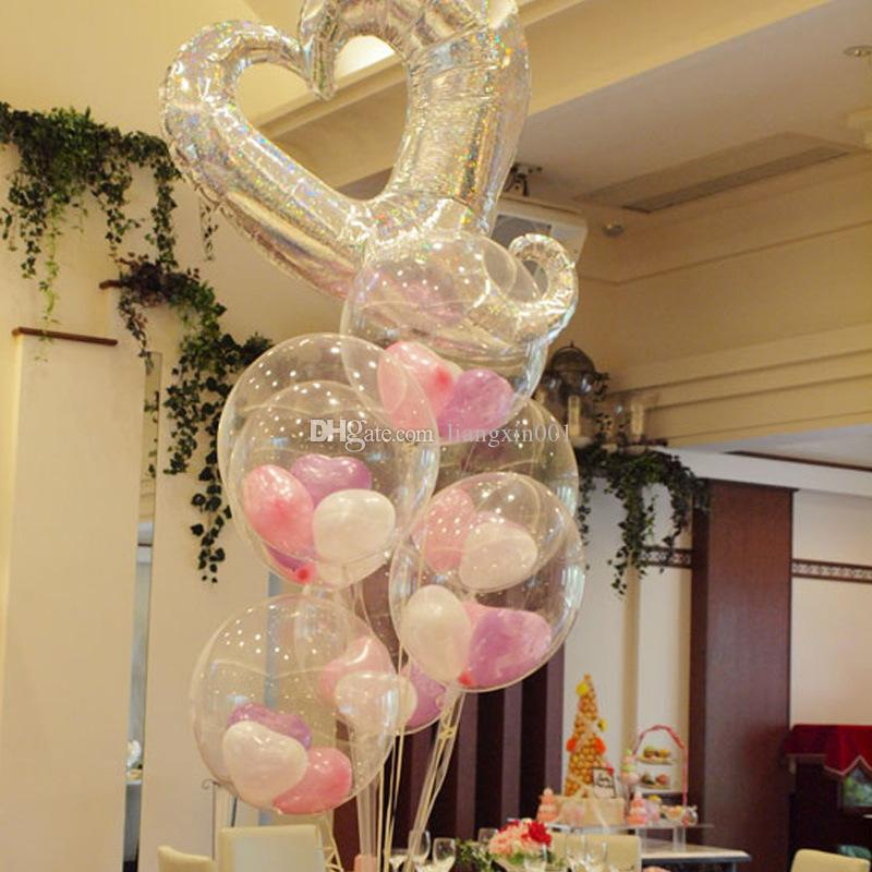 2 Sets of Transparent Balloon Stand Kit Wedding Decoration or other Party and Holiday Decorations Childrens Party Including Metallic Balloons Used for Birthday Party Decoration