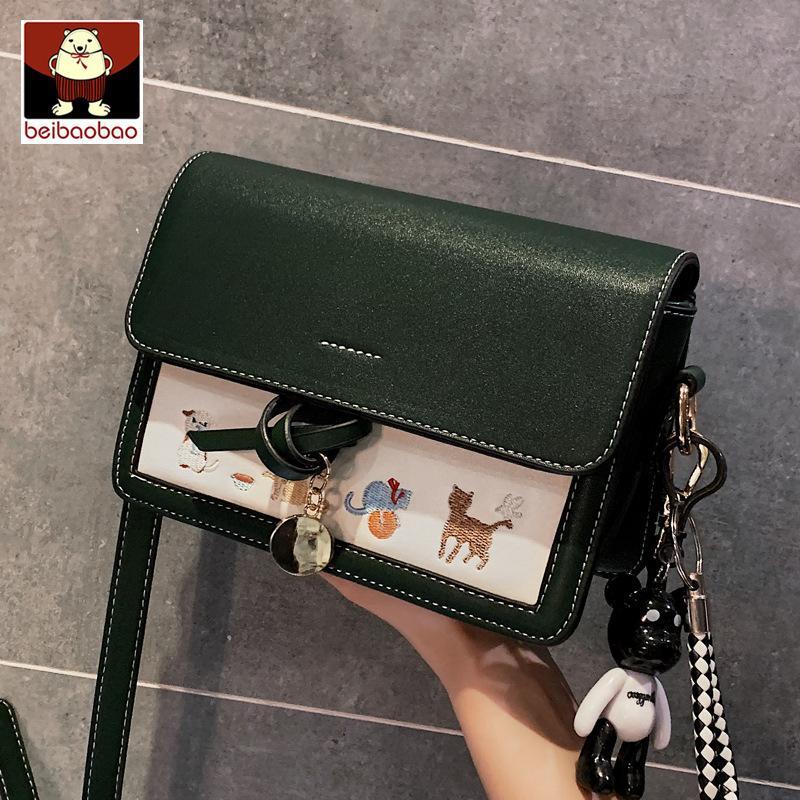 2020 neuer Frauen-Schulterbeutel Art und Weise kleine quadratische Tasche zart bestickter Schulterkurier rechteckige Handtasche