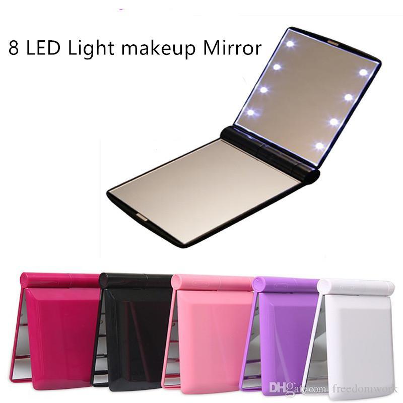Maquiagem Espelho 8 LED Espelho desktop portátil compactos 8 luzes LED iluminado Viagem espelho de maquilhagem gratuito DHL