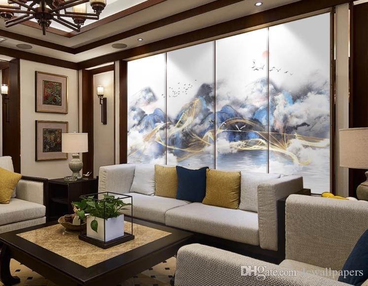 Costumbre hogar del papel pintado de la decoración mural de la sala dormitorio tinta 3D pintura de paisaje de niebla de aceite de oro Jiangnan fondo de pantalla 3d