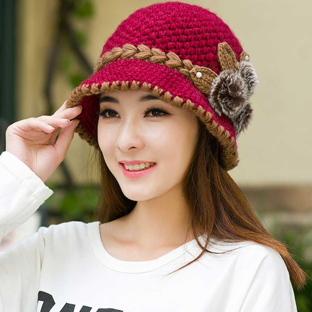 2017 New Fashion Women Lady Winter Warm Casual Caps Female Beautiful Wool Crochet Knitted Flowers Decorated Ears Hats Beanies S18120302