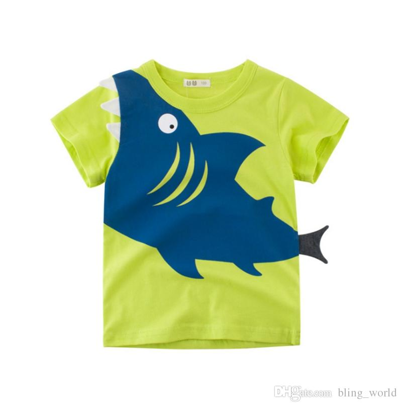 Kids Designer Clothes Boys Cartoon Shark Printed Shirts Cotton Boy T Shirt Short Sleeve Children Tees Tops Summer Kids Clothing YW3860