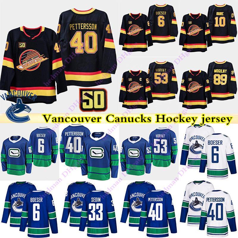 40 Elias Pettersson 6 Brock Boeser Canucks de Vancouver 53 Bo Horvat 10 Pavel Bure 43 33 quinn hughes Henrik Sedin chandail de hockey