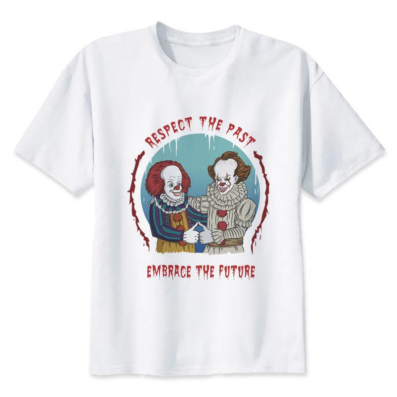 It Clown Pennywise T-shirt Men Summer tshirt Boy Print Tshirt hombres camiseta Anime Hip Hop T Shirt Brand Clothing White Color Tops Tees