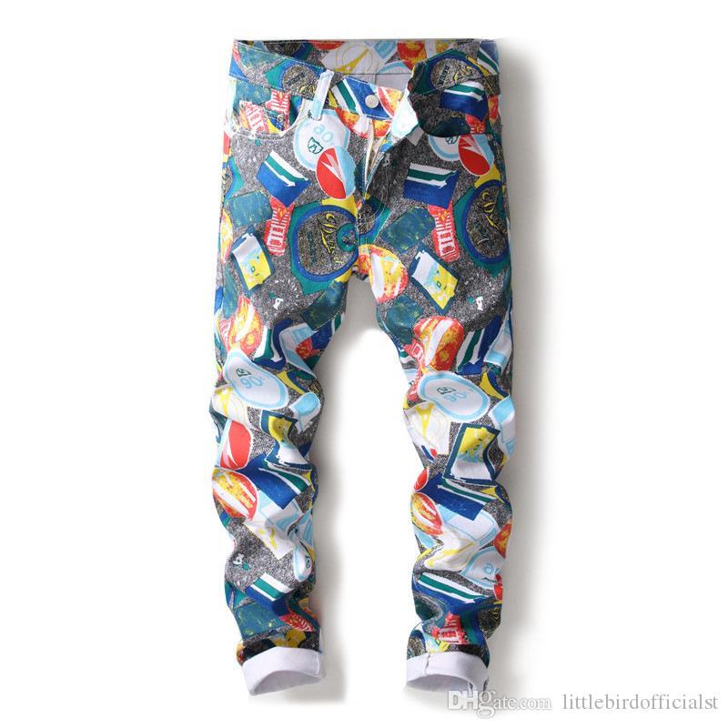 Nuevo 3D estiramiento impresión digital jeans club de hombres peluquería hombres leggings 5005