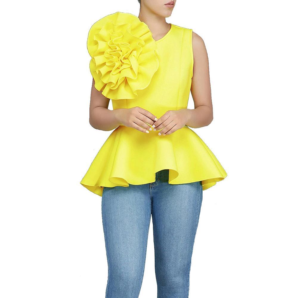 2018 Женская мода лето О-образным вырезом без рукавов оборки воланами асимметричный подол тонкий топы блузка J190618