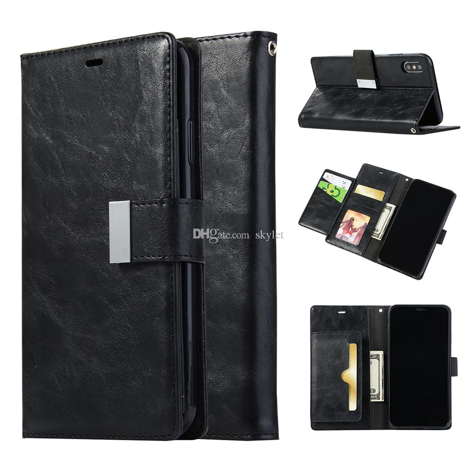 Magnetic Wallet Case for iPhone XS MAX XR Samsung S10 S10 PLUS PU Leather Credit Card Slot Flip Cover Case for Galaxy S9 NOTE 9 with OPP Bag