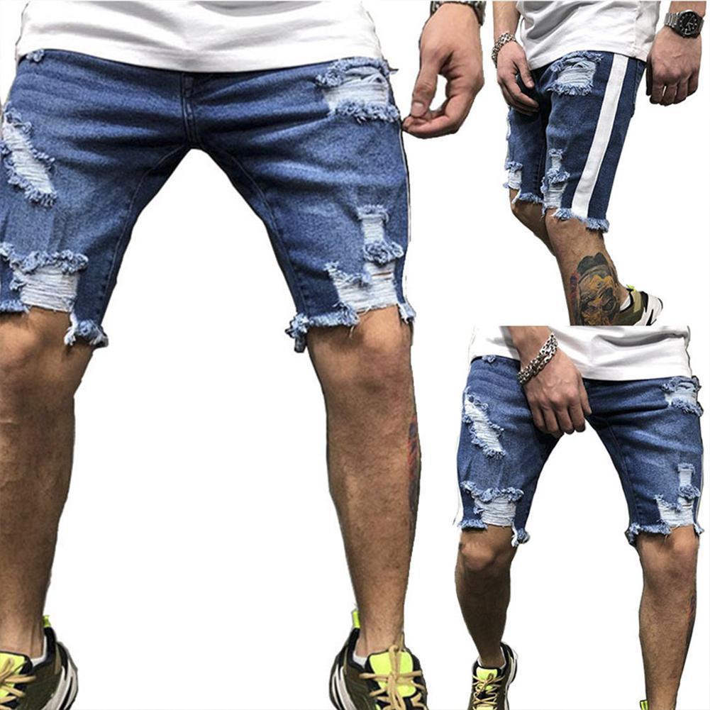 Men Jeans Moda dril de algodón azul rasgado Cortos Jeans de desgaste de la calle al aire libre ocasional de la manera del estilo del tamaño S-2XL