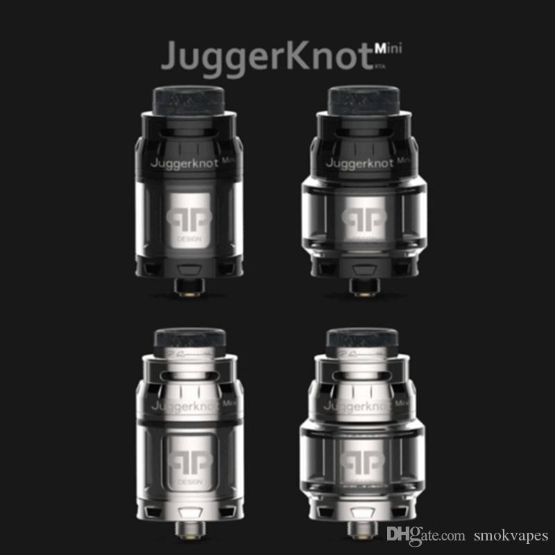 Os mais recentes QP Clone Designs JuggerKnot Mini RTA substituível Tanque Atomizador vaporizador Single Coil ajustável Top Airflow 810 Drip Tip Hot bolo