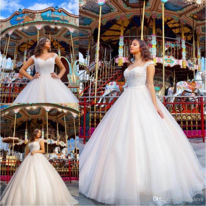 Plus Size Ball Gown Wedding Dresses 2019 Maternity Bohemia Bridal Gowns  Lace Appliques Cap Sleeves Sheer Neck Arabic Wedding Dress Bridal Gown ...