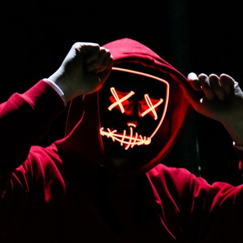 Festival Cosplay Kostüm Dekorasyon Komik Seçim Parti için Cadılar Bayramı Rave Tahliye Maskeleri Korku Led Maske El Tel Işık Yukarı Maskesi