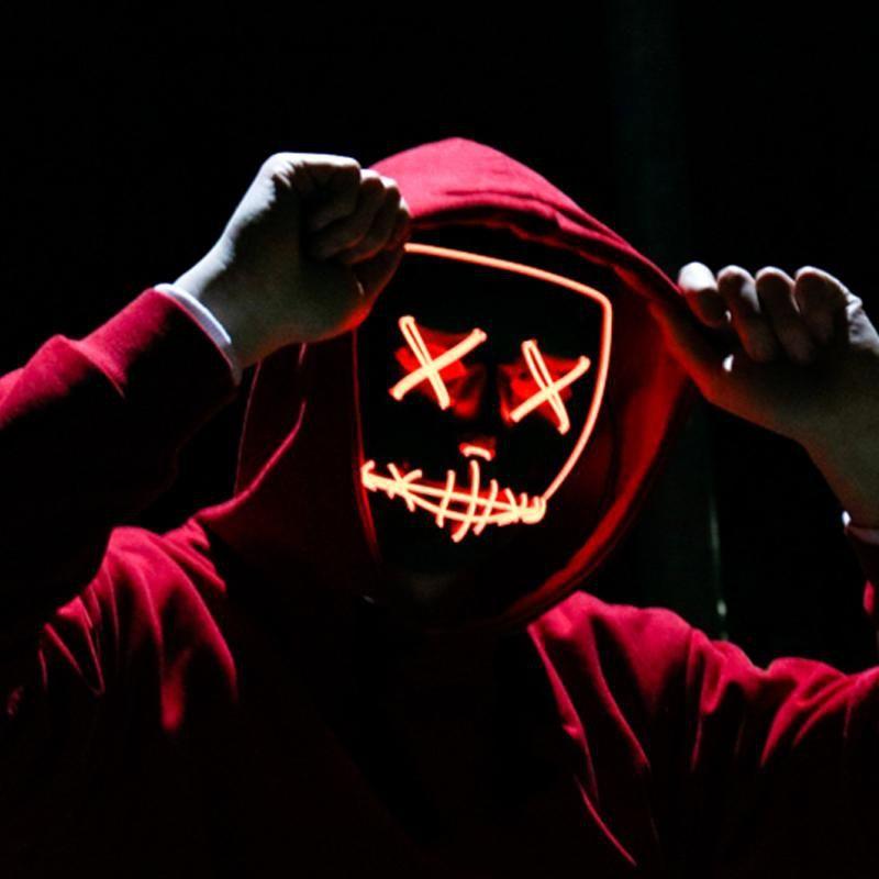 Хэллоуин Rave Purge Маски Horror Led Маска El Wire Light Up маска для фестиваля косплей костюм украшения Смешные партии Избирательной