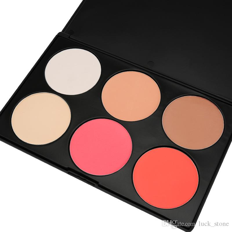 no logo concealer cosmetics square powder palette 6 color pack in black plastic case Brighten welcome OEM order large capacity good price
