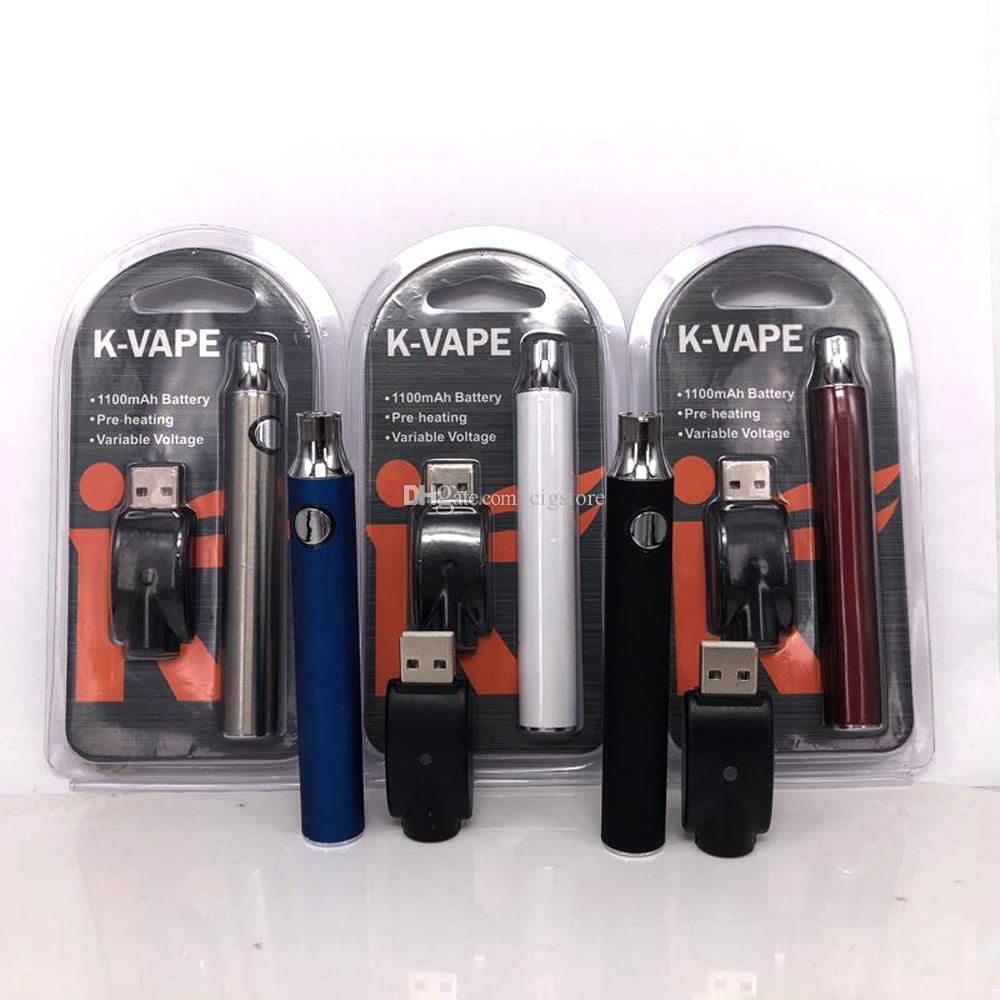 K-VAPE 로고 인쇄 배터리 키트 예열 1100mah Vape Pen VV 예열 배터리 510 나사산 USB 충전기 개별 블리스 터 포장