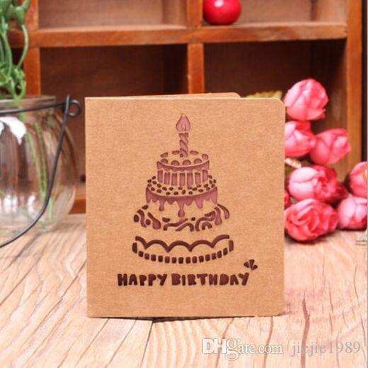 3D Cards Handmade Pop Up Greeting Card Happy Birthday Cake Wish For Your Gifts