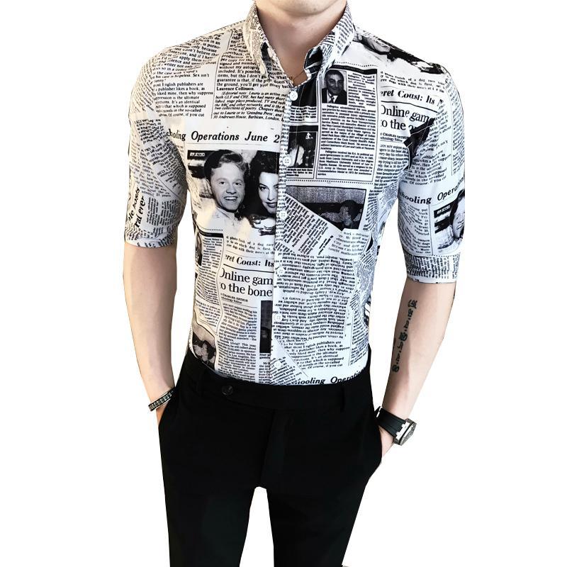 Casual Night Club Party Newspaper Print Shirt Men Summer Tuxedo Shirt Half Sleeve Slim Fit Camisa High Quality Dress Shirts Mens