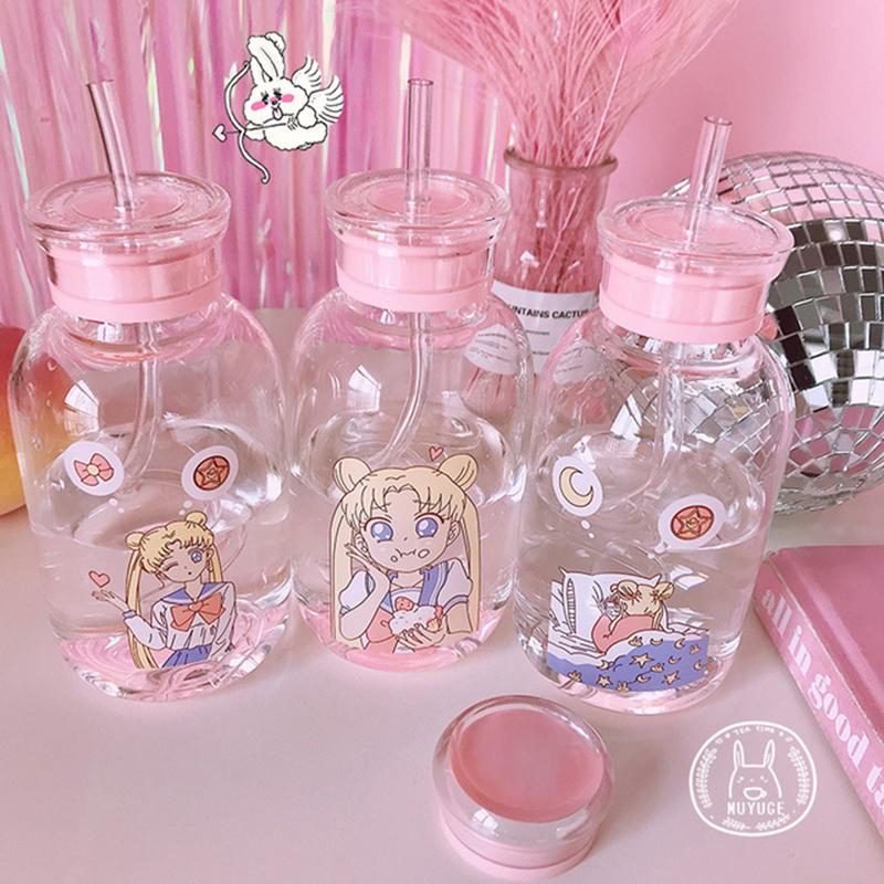 Cartoon Transparent Glass Water Student Camping with Portable Leak-proof Fruit Lemon Juice Drinking Bottle Y200330