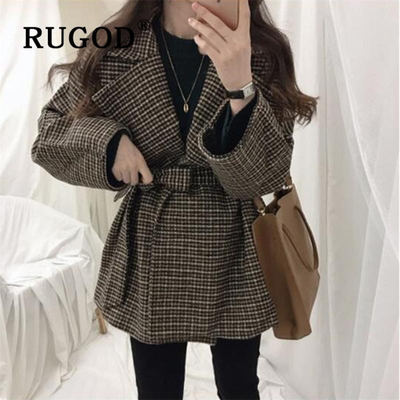 RUGOD Vintage Plaid Blazer Jacket Belt Collect Waist Crop Wool Coat Womens Winter Coats 2019 Streetwear Korean Style Women