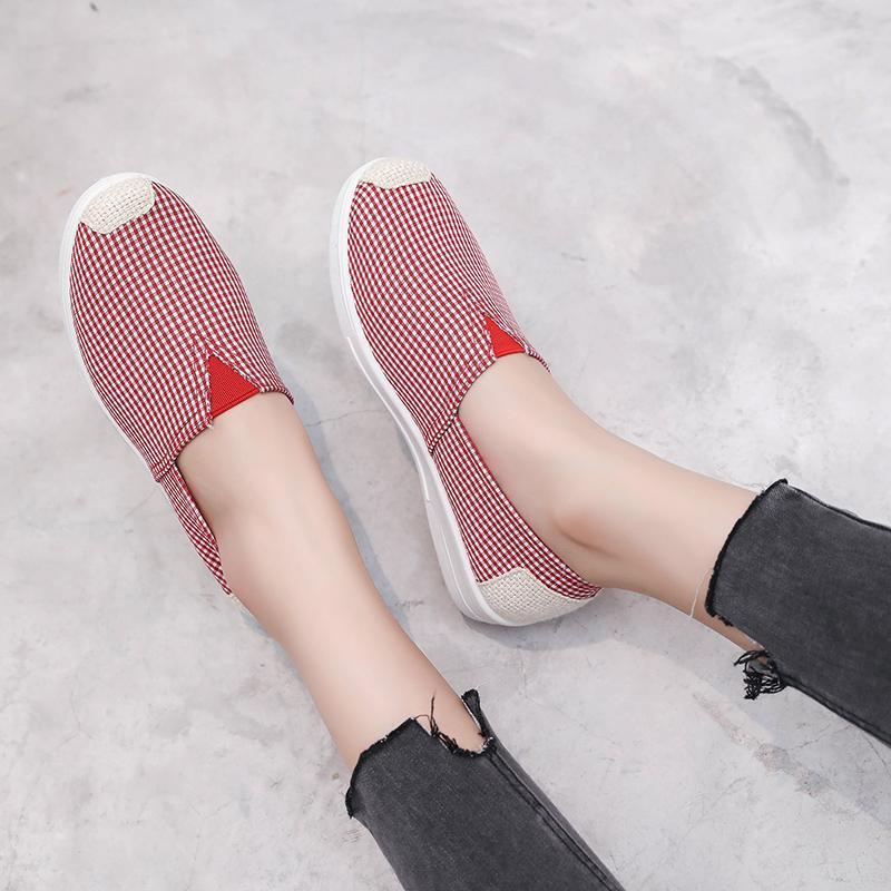 kadın ayakkabıları, ilkbahar ve sonbahar bir ayak pedalı tembel ayakkabı düz rahat ulusal tarzı tek ayakkabı kanvas Pekin bez ayakkabılar