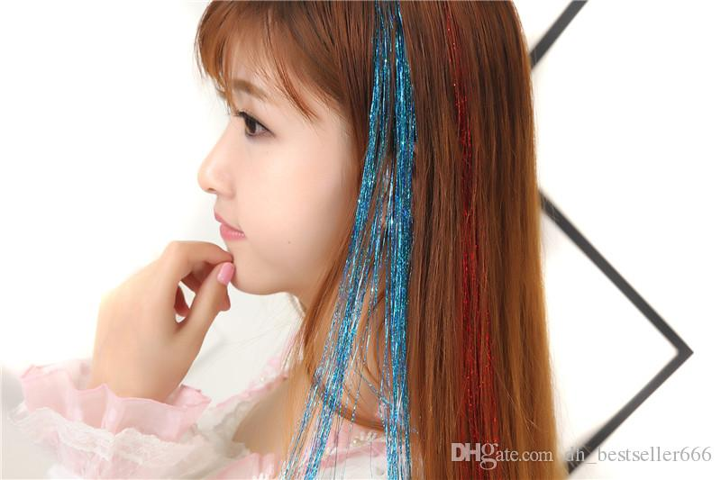 Bellavia Tinsel Extensions cheveux bling cordes 3D arc-en-Tinsel bling cheveux Secoration Pour synthétique Extension de cheveux pour les filles Glitter arc-en-