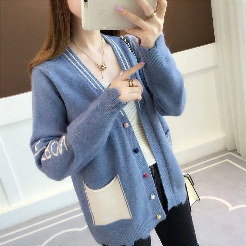 Taotrees Mulheres Bolsos Cardigans Contraste Cores Macio e Confortável Tricô Com Decote Em V Camisola Feminina Smoky Jaqueta Azul