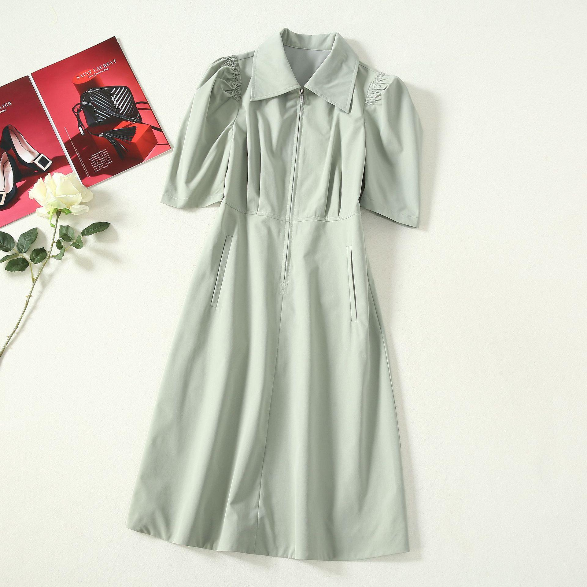2020 Spring Summer Short Sleeve Lapel Neck Green Pure Color Knee-Length Dress Luxury Runway Dresses A052306A2